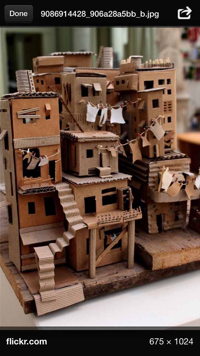 inspiration: cardboard favela (Brazilian slum dwellings) now this is pretty cool and I may use this idea as inspiration for a canal I want to build later on :)