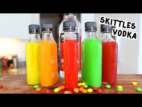 SKITTLES VODKA Vodka Skittles Empty Bottles PREPARATION 1. Separate Skittles by color and place them into empty bottles. 2. Fill with vodka. Shake and let sit for a few hours. 3. After a few hours, strain through a coffee filter to remove excess skittles pieces. DRINK RESPONSIBLY!