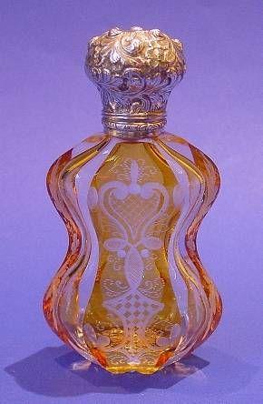 Victorian silver & glass scent bottle.  Made circa 1870