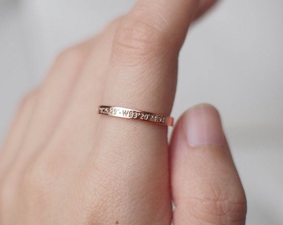 DAINTY PERSONALIZED COORDINATES BAND This band can be personalized with your own coordinates and message.  * To engrave on one side of the
