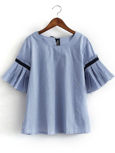 Shop Blue Bell Sleeve Self-Tie Bow Back Striped Blouse online. SheIn offers Blue…