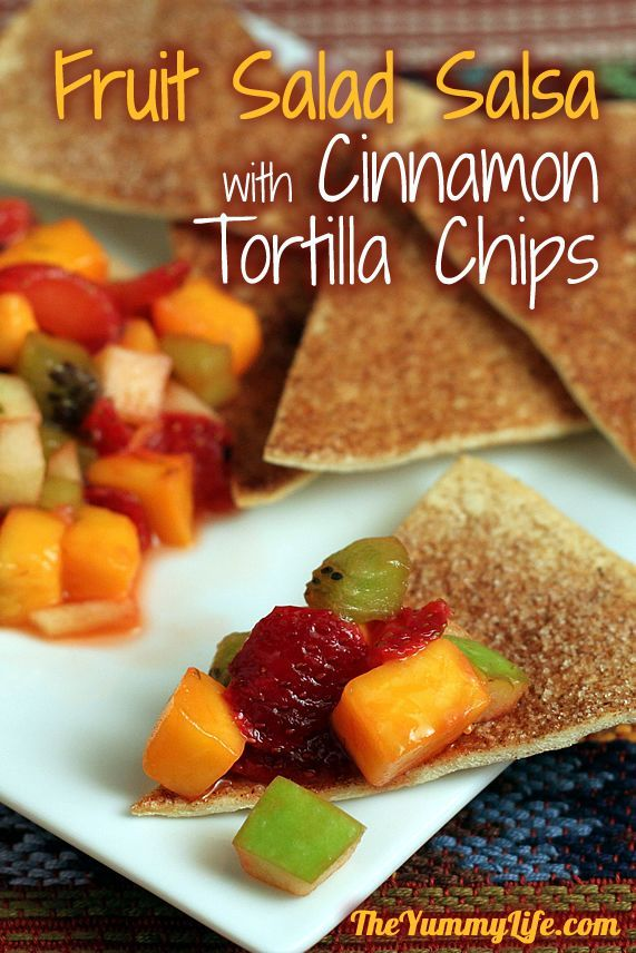 Mango Fruit Salad Salsa with Sugar & Spice Tortilla Chips. Fun for a snack, brunch, or dessert. www.theyummylife.com/mango_fruit_salad_salsa