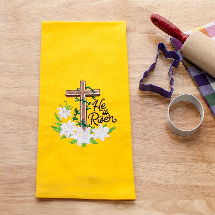 Embroidered Easter Kitchen Towel - Dish Towel - Christian Religious Decor - Easter Lilly - Cross - Yellow Towel - He is Risen - Towel Set by GoldenArrowLane on Etsy