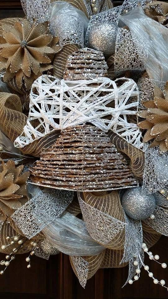 Zilveren kroon van Kerstmis Angel jute krans de kroon door Jarabels