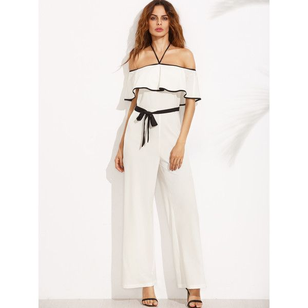 SheIn(sheinside) Black and White Halter Ruffle Tie Waist Jumpsuit (47 BAM) via Polyvore featuring jumpsuits, tie waist jumpsuit, black and white jumpsuit, black and white halter top, black white jumpsuit i short sleeve jumpsuit