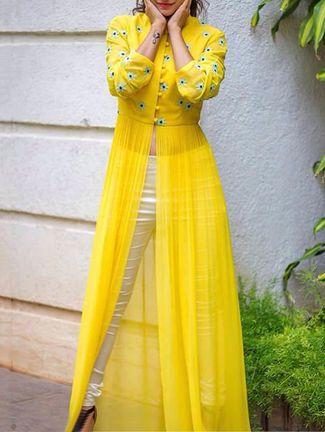 Buy Thankar yellow georgette  Online, , LimeRoad