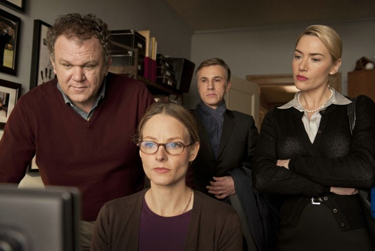 """""""Carnage"""" movie still, 2011.  L to R: John C. Reilly, Jodie Foster, Christoph Waltz, Kate Winslet."""
