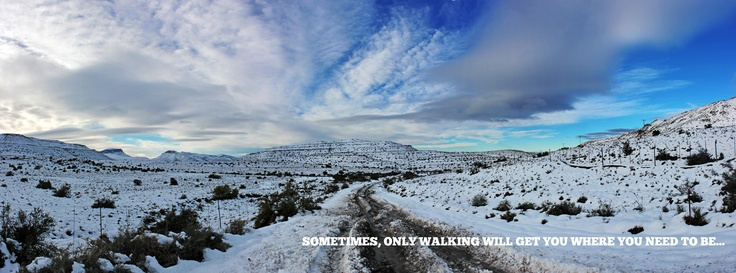 Freak Snow Storms in the Groot Karoo (South Africa) the past weekend had me stuck in Beaufort-Wes. I managed to sneak past the roadblocks to get myself to the mountains, after an 8km walk through the snow, I found my spot for this shot. What an experience!