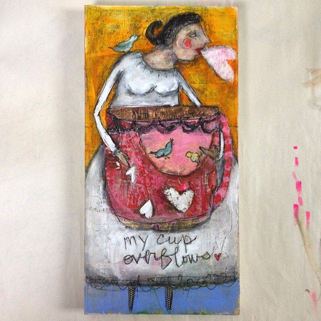 Gut Art painting Wednesday week 2. #gutart #onlineclass #mystelepaint #mixedmedia #authentic #art #painting #folkart: