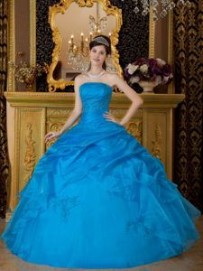 Blue Strapless Pick-Up Accent Dress for15 with Appliques