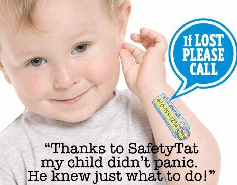 緊急時の連絡先が記された子供用タトゥーシール『Safaty Tat』
