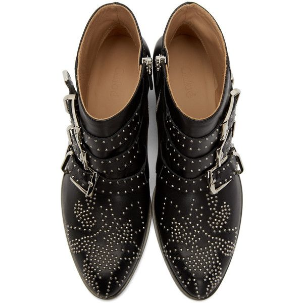 Chlo� Black and Silver Studded Susanna Boots (29 525 UAH) ❤ liked on Polyvore featuring shoes, boots, ankle booties, ankle length boots, studded booties, ankle high boots, chloe booties and zipper booties