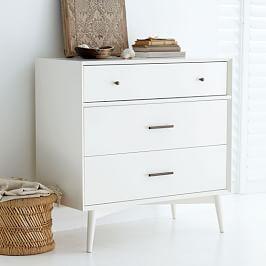 Mid-Century 3-Drawer Dresser - White