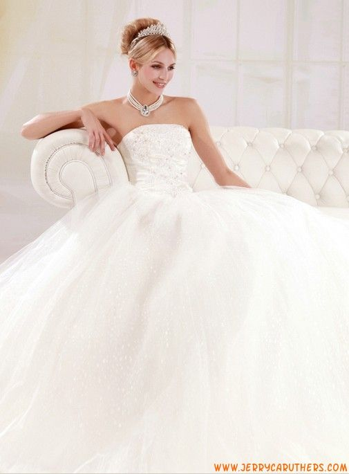 witte tule strapless vloer lengte trouwjurk korset terug
