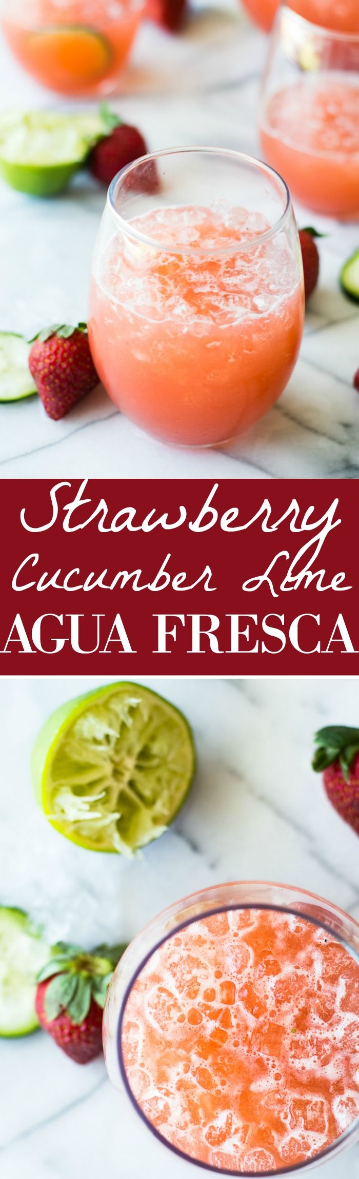 Cool and refreshing Strawberry Cucumber Lime Agua Fresca. This fruit infused water is free of refined sugars and perfect for sipping on hot summer days! Strawberry Cucumber Lime Agua Fresca.