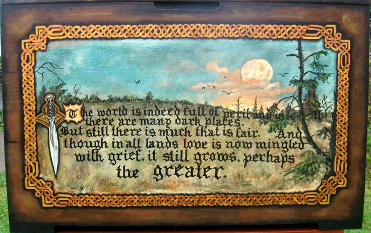 Brîndușa Art Painting on a wooden chest with painted images inspired from J.R.R. Tolkien, with one of my favorite quotes. Celtic border painted by hand - no stencils. Pictură de pe un cufăr cu imagini pictate, inspirate din cărţile lui J.R.R. Tolkien, cu unul din citatele mele preferate. Bordură celtică pictată cu mâna liberă, fără şabloane. #woodpainting #picturapelemn #paintedchest #cufarpictat #inspirational #tolkien #acrylics #acrilice