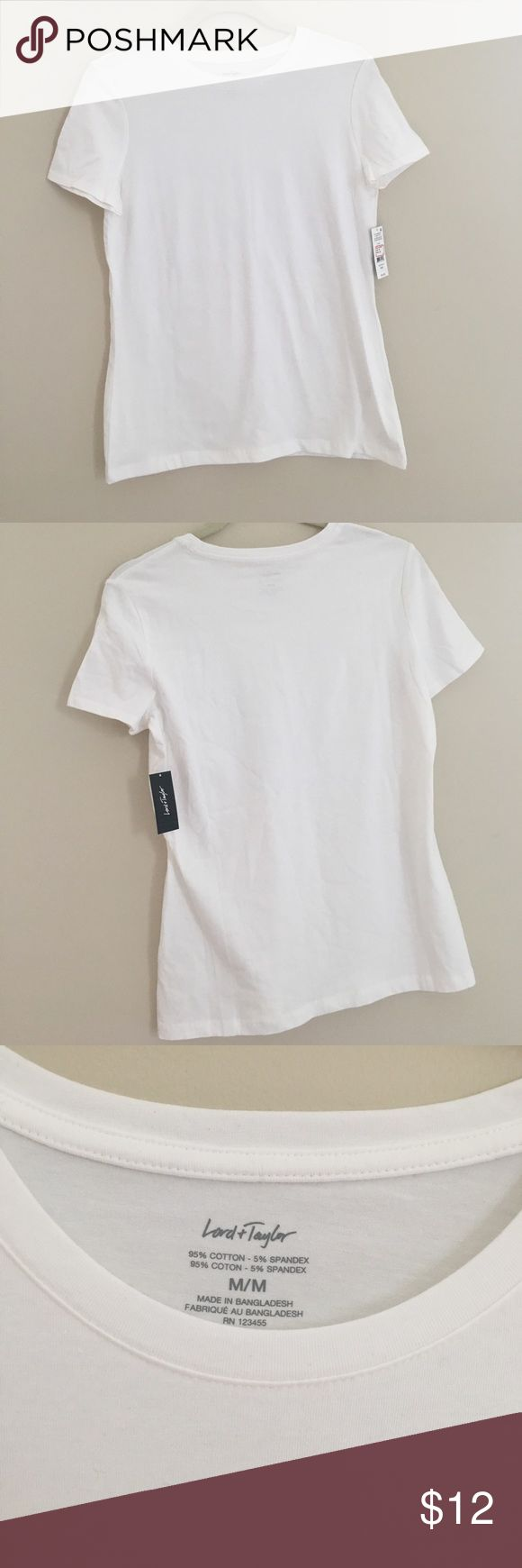 Lord Taylor white tee shirt M Lord Taylor white Medium white tee shirt Lord & Taylor Tops Tees - Short Sleeve