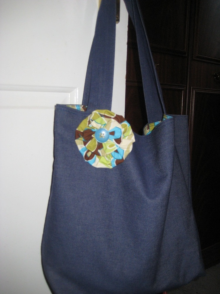 Handmade Denim Cotton Tote Bag With Attached Fabric Flower. £9.50, via Etsy.