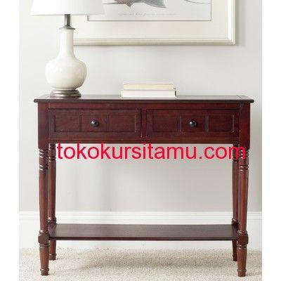 Meja Konsul 2 Laci Panel Bawah G-3SMA memiliki 2 laci dan panel bawah terbuat dari kayu jati tersedia dalam 2 pilihan warna finishing putih dan coklar gelap