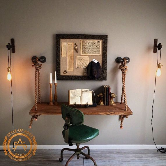 Rope  Pipe DESK Suspended Wood  Wall Mounted  Standing