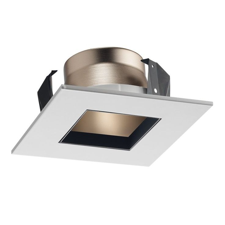 Juno Lighting 17SQ Hzwh 4-Inch Square Shower Recessed Trim, Frosted Glass with Haze Trim
