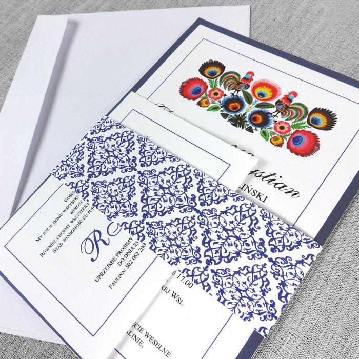 Zaproszenia folkowe - prostokątne - Zaproszenie folk- prostakatne obwoluta granatowa. Zaproszenia ślubne, weselne w stylu ludowym. Bardzo oryginalne.