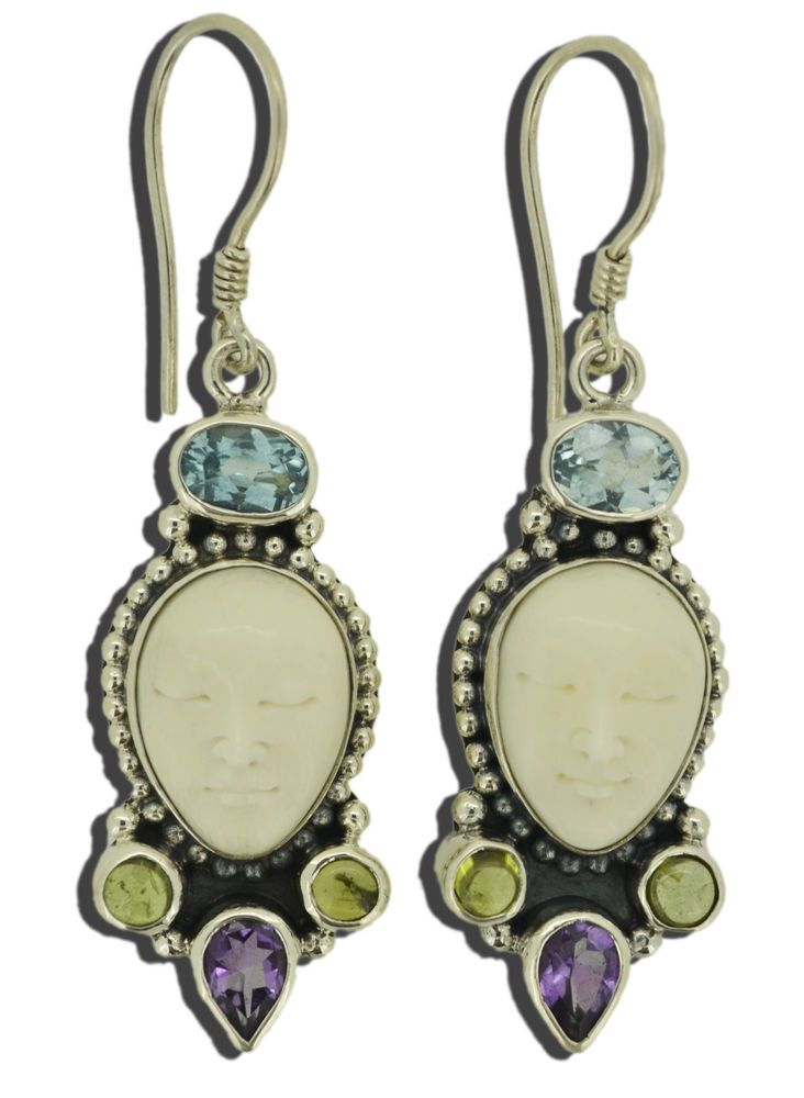 Jewelry With Soul Goddess Topaz Peridot Amethyst 925 Sterling Silver Earrings