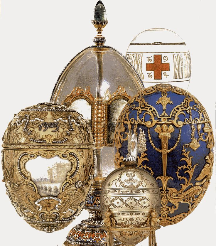 Romanov Eggs by Faberge | This montage is of the five Fabergé imperial Easter eggs given to the ...