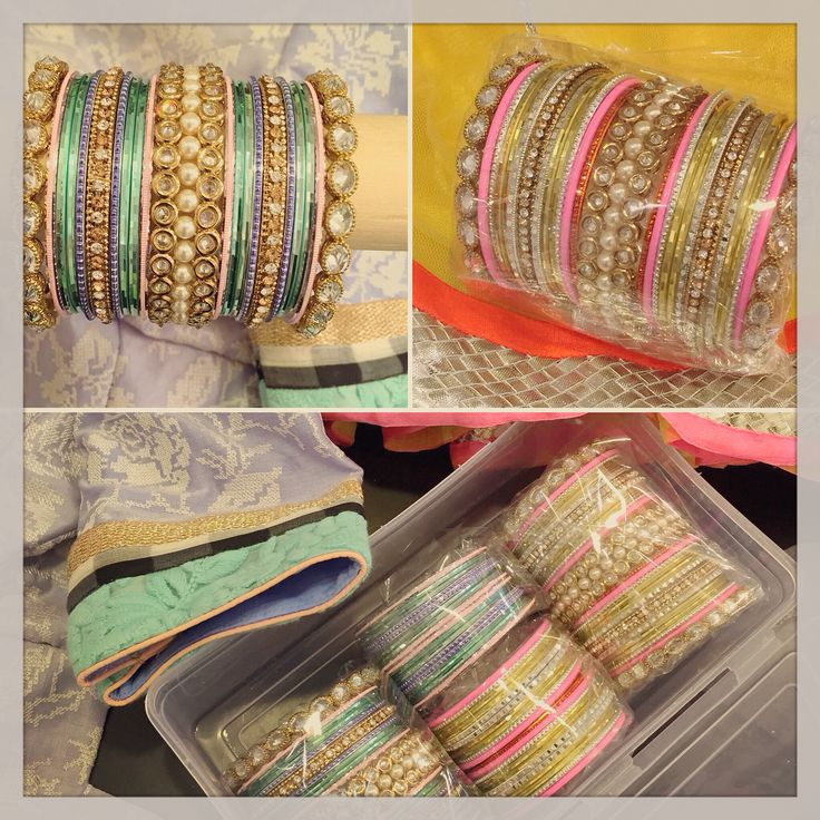 This client came in with 2 outfits that she needed bangles for. We made 2 sets using the same karras- so only the thin metal bangles were swopped out. We were able to create 2 completely different looks by changing the colours and styles of the metal bangles. #jewelry #yellow #hotpink #orange #seagreen #kundan #lilac #karra #bangles #banglezjewelry #indian #indianjewelry #southasianstyle #instabollywood #allthingsbridal #banglez #bracelets #gold #silver #instawedding