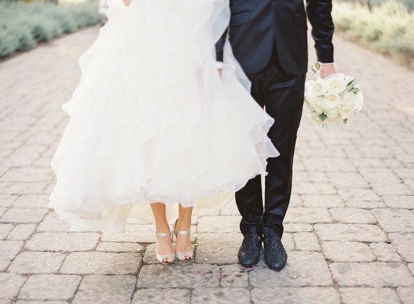 Bride and groom in both glitter jimmy choos- so cute!