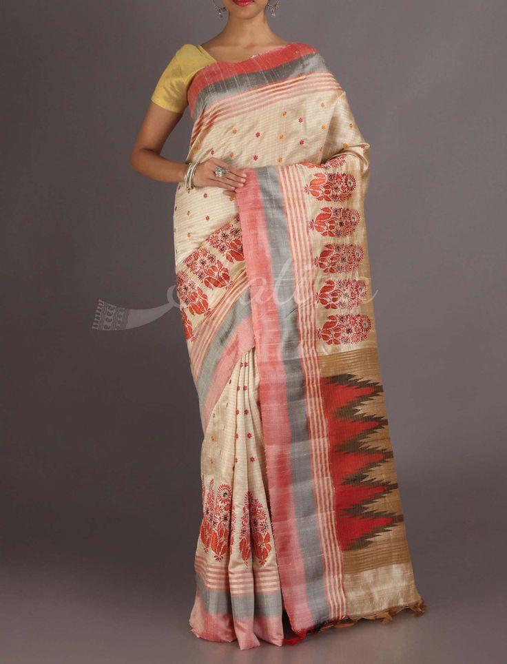 Disha Cream With Red Blossom Elegant #ChikankariSaree