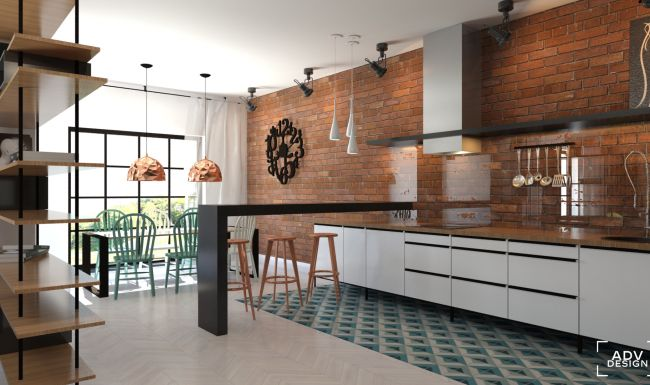 www.advdesign.pl 87m2_5 kitchen purpura floor tiles loft copper emerald clock brick