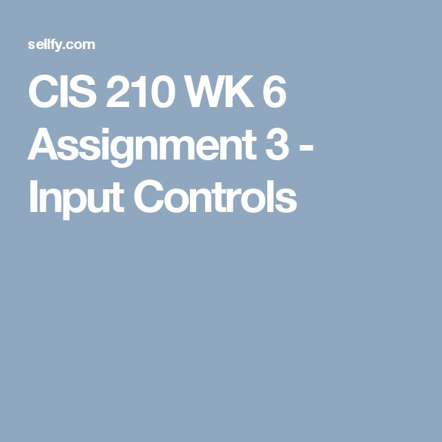 cis 210 aissignment 1 Cis 210 assignment 1 - inventory management systems your sister owns a small clothing store during a conversation at a family dinner, she mentions her frustration with having to manually track and reorder high demand items.