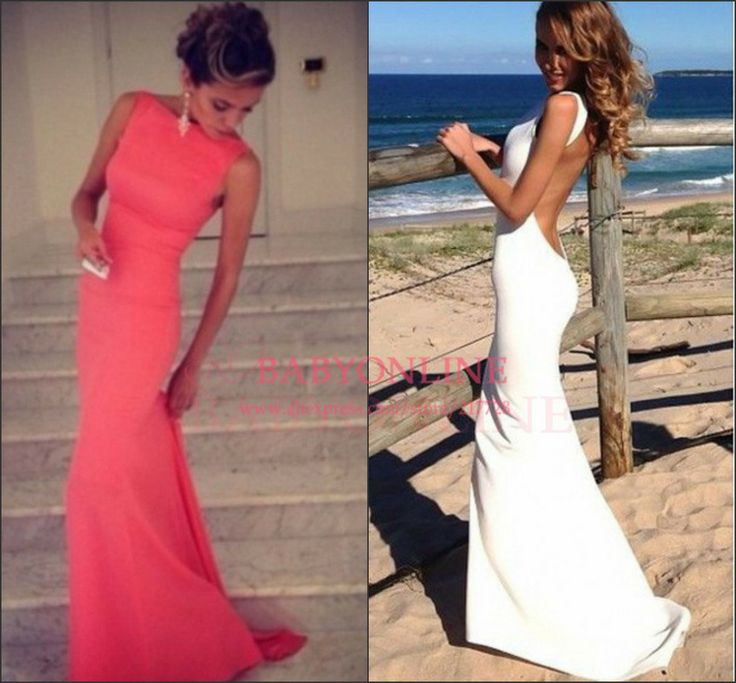 Elegant Open Back Red White Floor Length Maxi Mermaid Prom Dresses Evening Dresses 2013 New Arrival Vestidos De Fiesta BO3399 $129.00