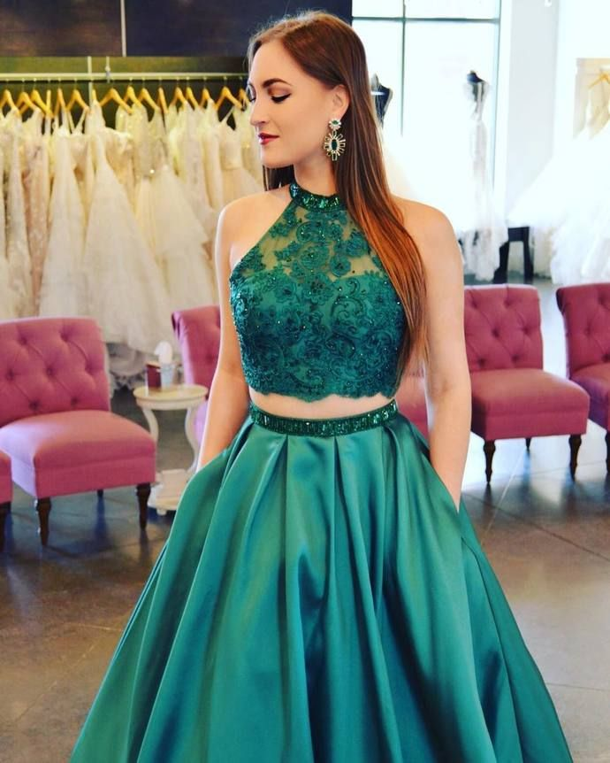 Two Piece Emerald Green Long Prom Dress with Pockets  b46d6ca96