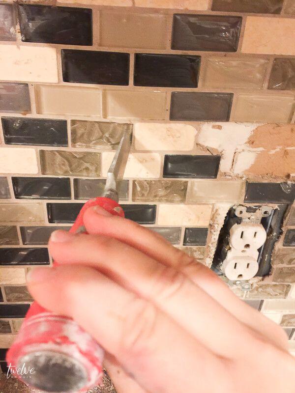 How To Remove Tile Backsplash Without Damaging Drywall Remove Tile Backsplash Tile Removal Small Bathroom Tiles