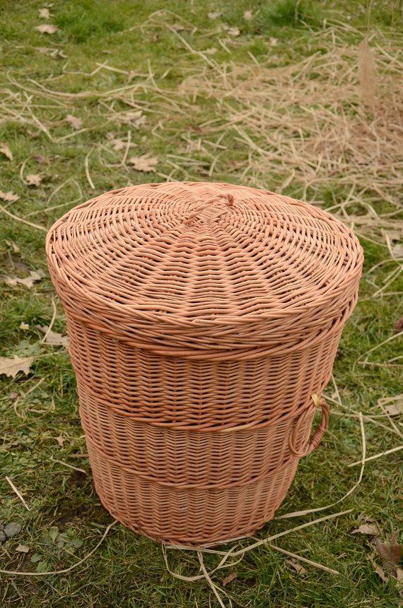 Storage basket with lid wicker laundry basket handmade willow laundry basket with lid round - Round wicker hamper with lid ...