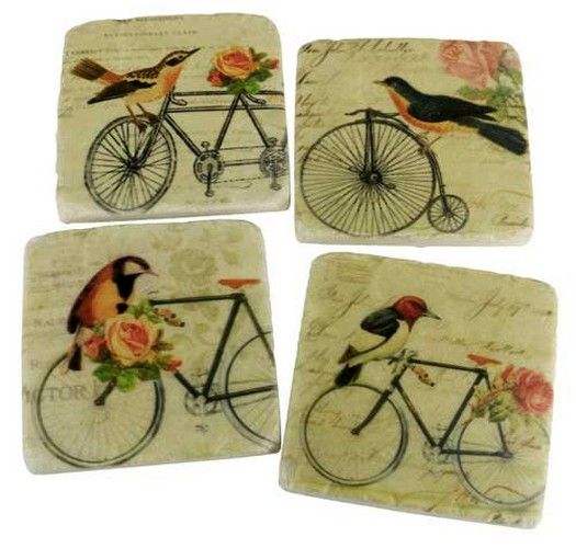 Bicycle/Birds Coaster Set of 4 RRP $20
