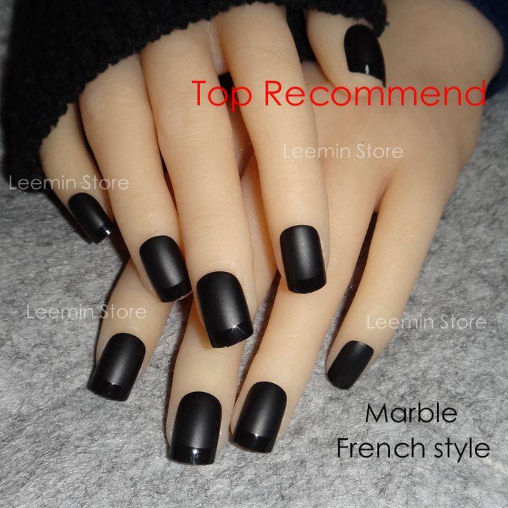 Black  matte French short square false nail