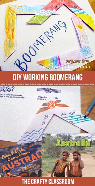 My children were thrilled to learn that there was a way to make an actual boomerang that when thrown, would return to it's owner! We had a blast designing these with Aboriginal symbols too Materials: Paper Boomerang Tutorial Aboriginal Symbols Suggest Resources for a Unit Study:     Art Project Tutorial: