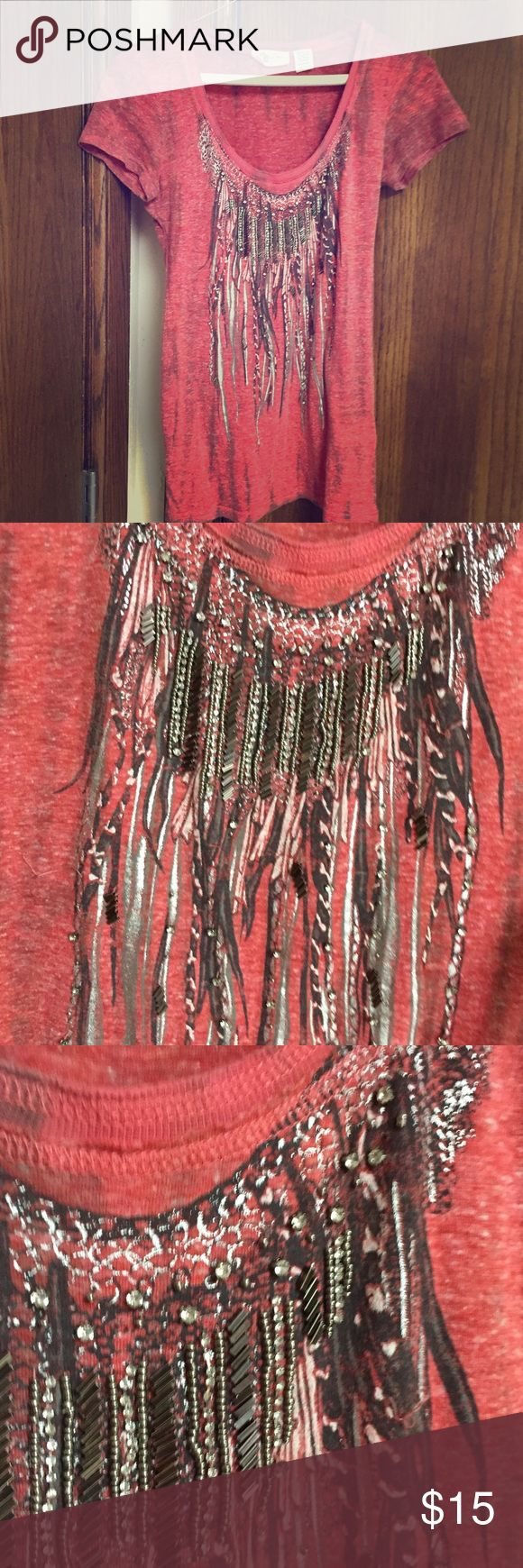 Miss Me Sequin Top Miss Me brand too with sequin and bead embellishments. Is an older piece but has very little visible wear and is in great condition, all heading is intact and the fabric is super soft, it's a size small, but feels a little snug for a small Miss Me Tops