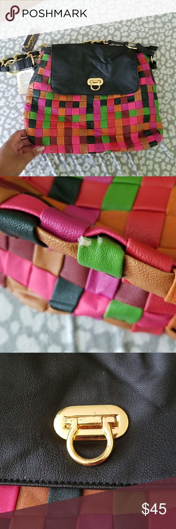 Colorful Checkered Purse NWT! Has been in my closet for a while & has a little scratch at the bottom (see pics) Karma Bags Shoulder Bags