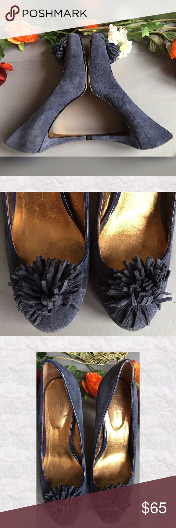 "Boden Blue Leather Pom Pom Pumps *SALE IS FOR SHOES ONLY!!  *Condition: Very good. Light overall wear shown in photos. Some wear to sole.  *SHOE IS STAMPED SIZE 40 (Euro) WHICH IS US 9-9.5. THESE SHOES RUN SMALL IN MY OPINION AND WILL WORK BEST FOR US 8.5. Please ask for additional measurements if you need them. *Style: Pom Pom Heels *Toe: Round Toe  *Heel height: 3.75"" *Platform height: 3/4"" *Material: Real Leather Upper  *Interior Stamp: Illegible  *Cushioned heel *Made in Brazil *Stored…"