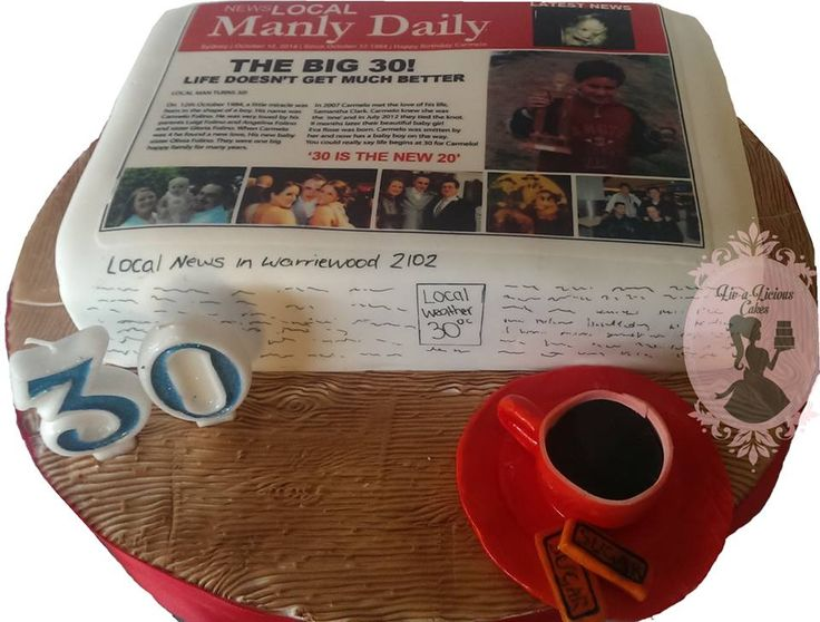 Newspaper cake with personalised edible image