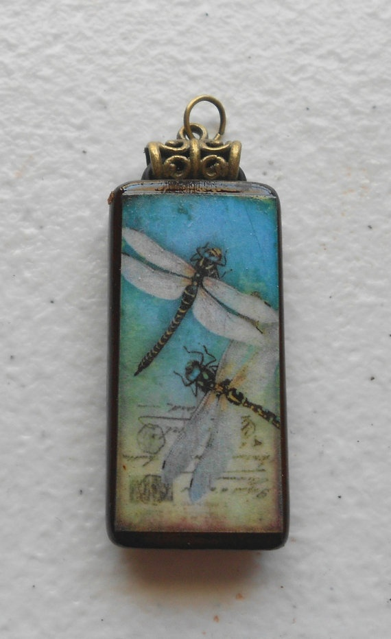 Artisan Crafted DRAGONFLY Altered Art Bamboo Tile by RavensNest28, $12.00