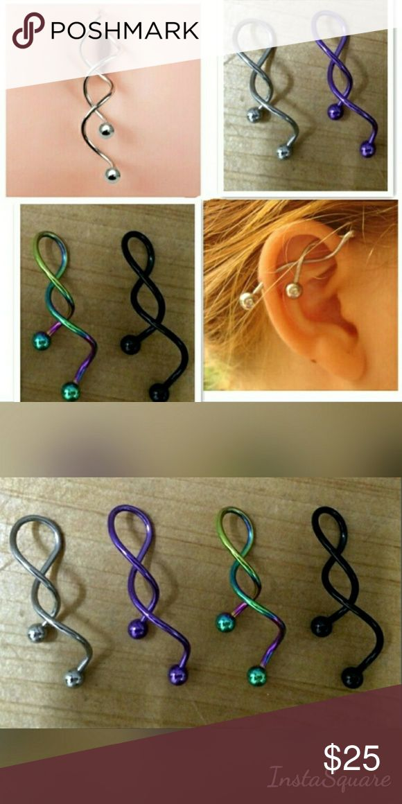 Silver Twist Spiral Industrial Piercing Barbell Twist Spiral Ear Industrial Piercing Barbells Belly Button Ring Navel Piercing Nombril Ombligo Earring Ear Piercing 14g. Material:316L surgical steel Jewelry Earrings