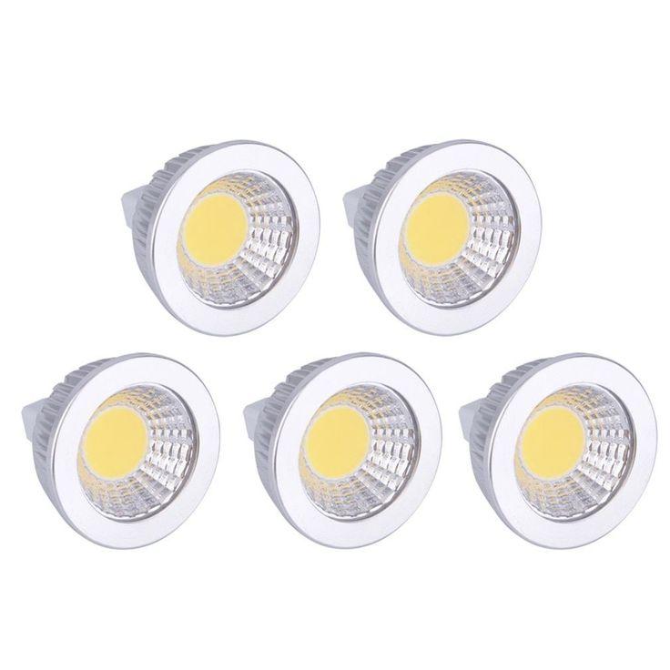 MR16 6W Aluminum COB LED Light Spotlight light bulbs 12V (Box of 5) (Light bulb), White