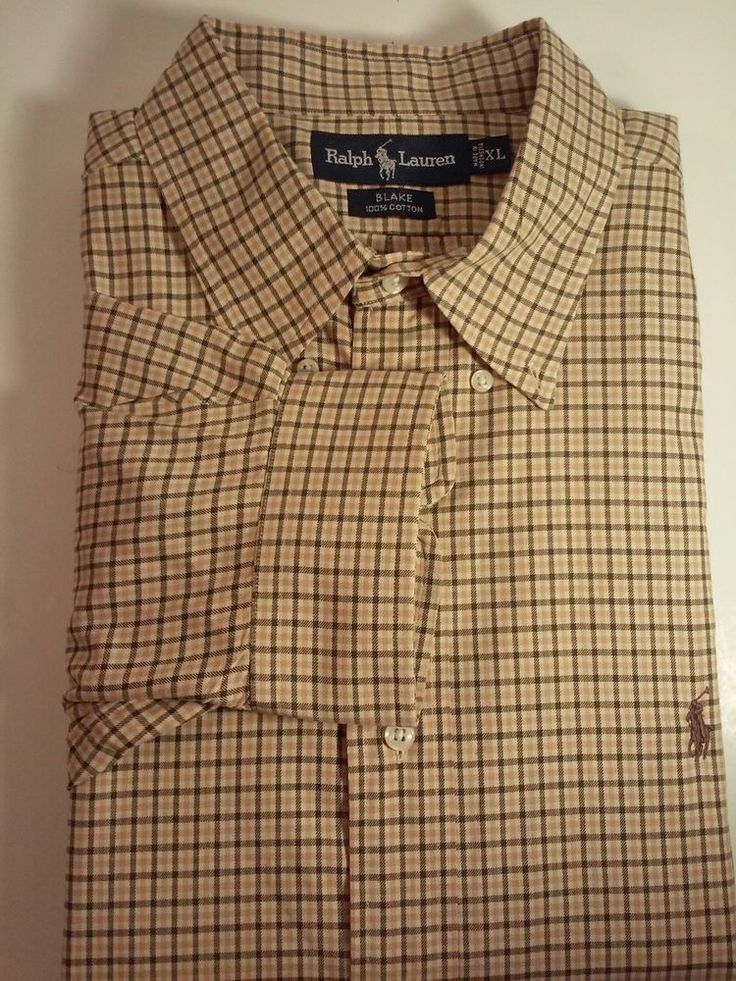 from $17.99 - #RalphLauren Blake Mens Button Up Polo Dress Shirt Sz Xl Large Brown Plaid Euc