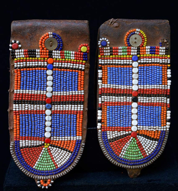 Africa   Earring flaps from the Masai people of Kenya   Leather, glass beads, zipper and buttons