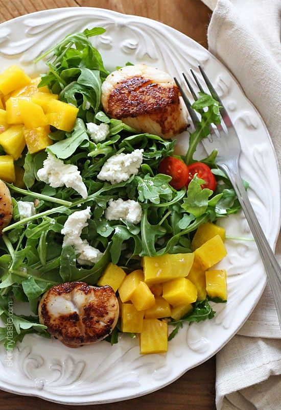 Sweet yellow beets, arugula, goat cheese and sauteed scallops tossed with a honey vinaigrette – this salad is delicious!